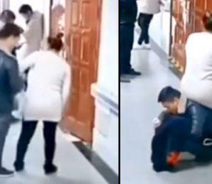 اسپتال میں لوگوں نے بیٹھنے کے لیے سیٹ نہیں دی تو شوہر خود ہی حاملہ بیوی کے لئے کرسی بن گیا ، ویڈیو وائرل